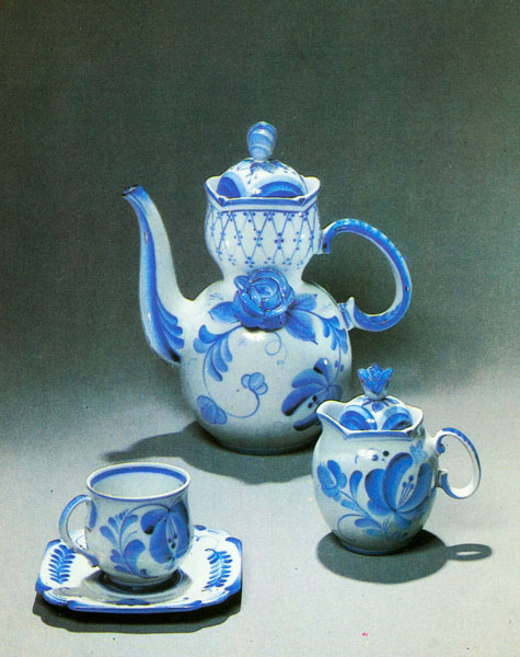 "A.N. Fedotov. Articles from coffee-set  ""Blue Love"". 1980."