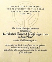 DIPLOMA  on the inscription of the Trinity-St.  Sergius Lavra on the UNESCO Heritage  List of December 11, 1993